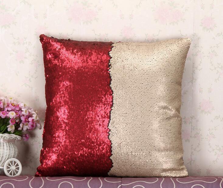 sequins reversible cushion cover pillow slip mermaid pillow case cover home sofa car dcor magic swipe