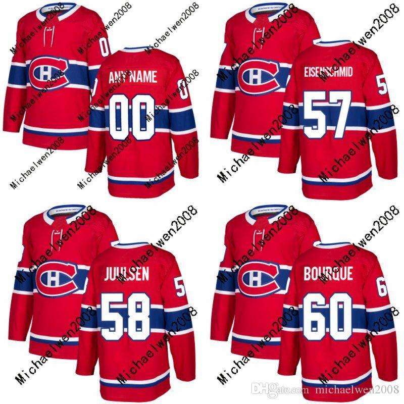 Mens Femmes Hommes 57 Markus Eisenschmid Maillot 2017-2018 Saison Canadiens de Montréal 58 Noah Juulsen 60 Simon Bourque Maillots de Hockey Personnalisés