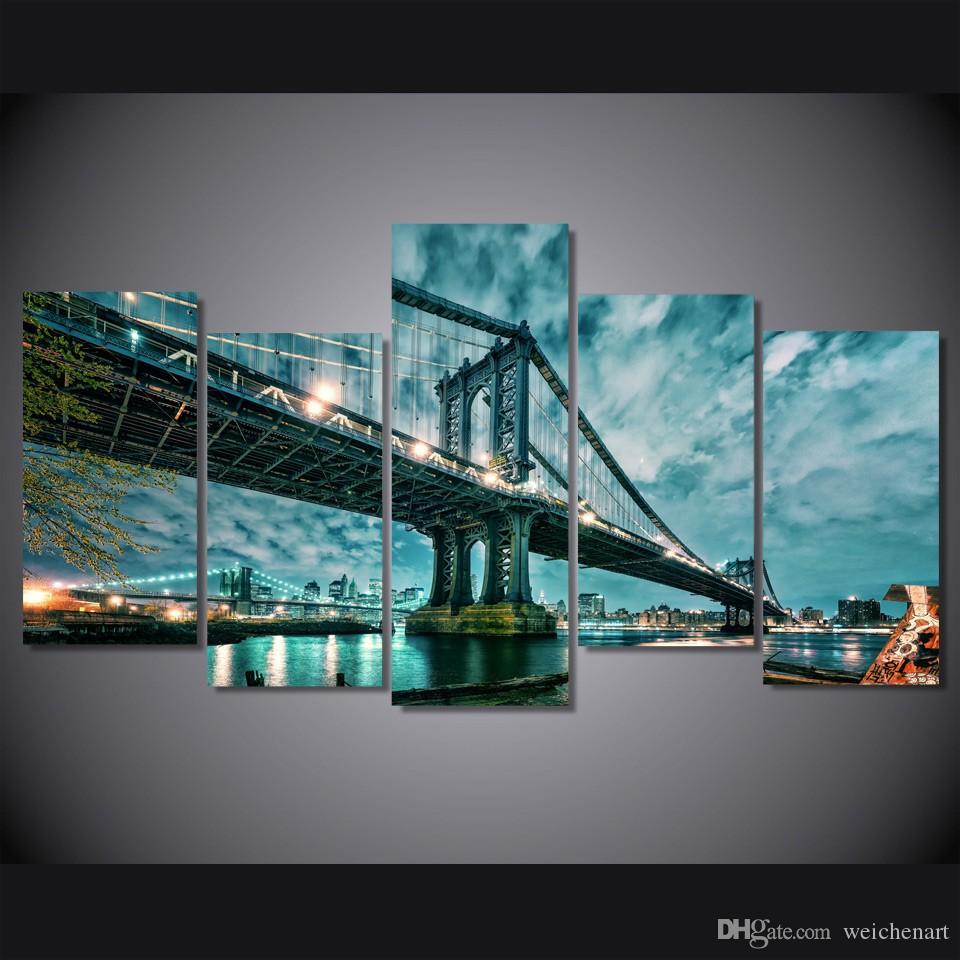 Poster Resmi Kanvas Tablo Baskı Wall Art Odası Dekor Boyama 5 Paneli HD Baskılı Brooklyn Manhattan Köprüsü