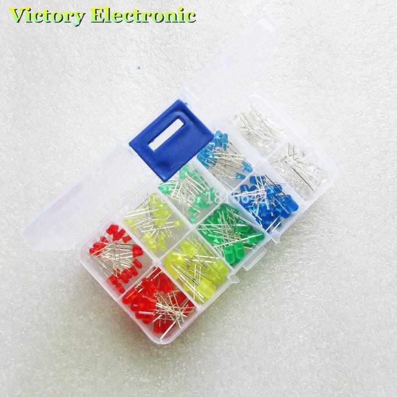 الجملة-200 قطعة / الوحدة 3 ملليمتر 5 ملليمتر led كيت مع صندوق مختلط لون أحمر أخضر أصفر أزرق أبيض ينبعث منها ضوء ديود تشكيلة 20 قطع كل جديد
