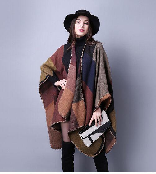 1 PCS automne hiver écharpe grille femme voyage châles laine filature dames manteau d'intensification nationale 18 couleurs cap partie de noël cappa