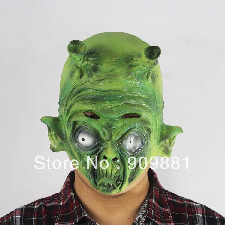 Creepy Two Horns ET Alien Green Mask Dragon Ball Beast Monster Devil King Latex Masks Halloween Carnival Masquerade Ball Props
