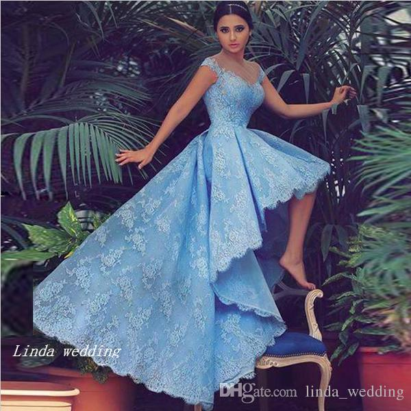 2019 Beautiful High Low Prom Dress Sexy Sky Blue Lace Junior Evening Party Gown Plus Size abiti da festa