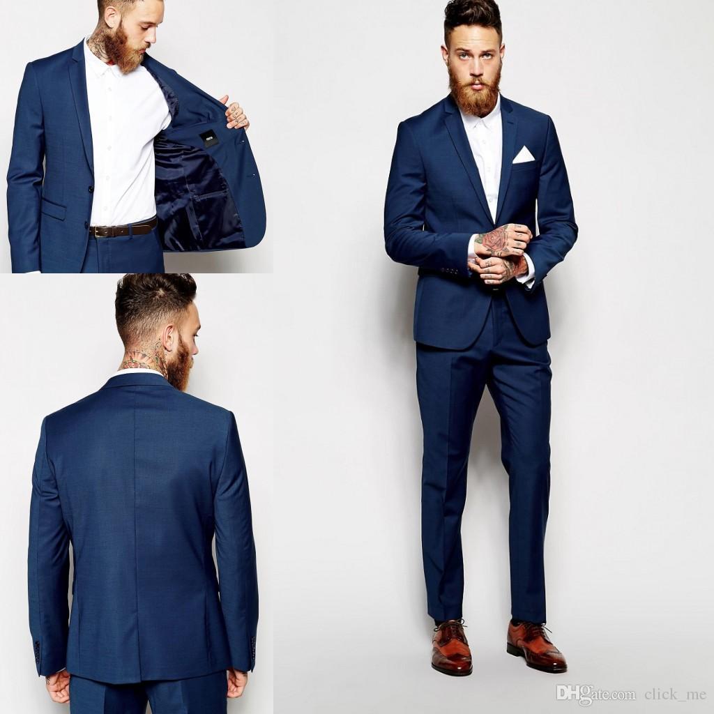 Custom Made Groom Tuxedos Groomsmen Dark Blue Vent Slim Suits Fit Best Man Suit Wedding/Men's Suits Bridegroom Groom Wear (Jacket+Pants)