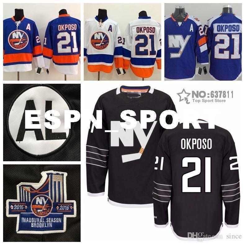 2016 NIEUW, 2016 New York Islanders Kyle Okposo Hockey Jerseys Stadium Serie Blue Home Goedkope 21 Kyle Okposo Black Jersey Gestikt een Pat