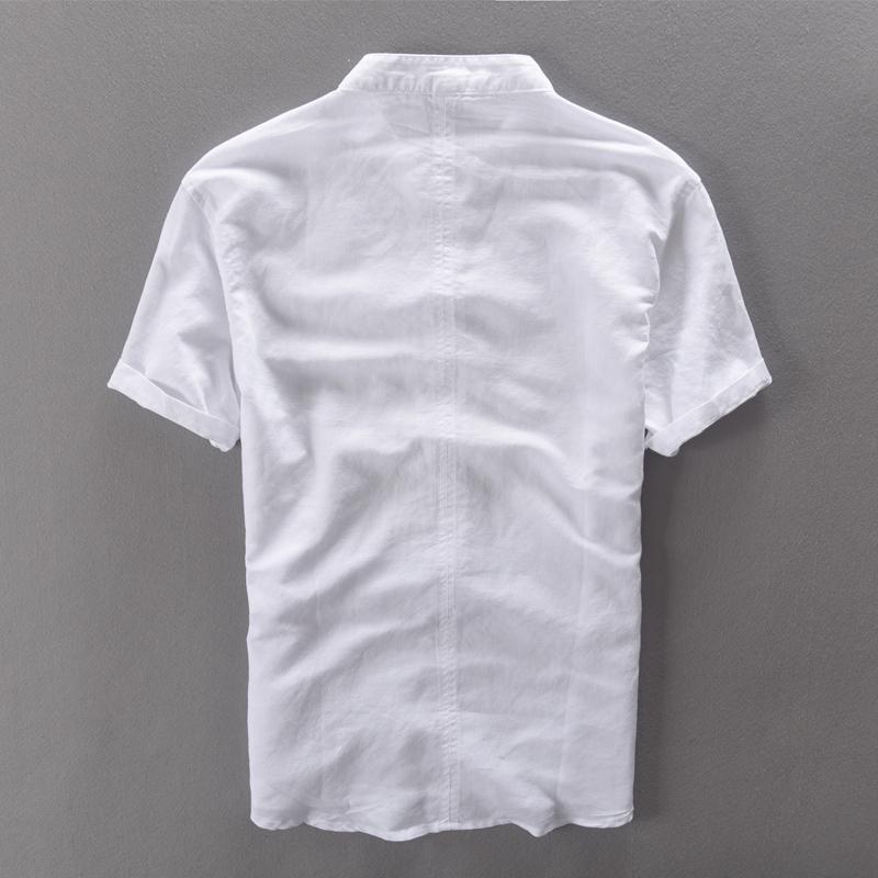 Frieed Mens Linen Chinese Style Short Sleeve Stylish Summer T-Shirt Tee