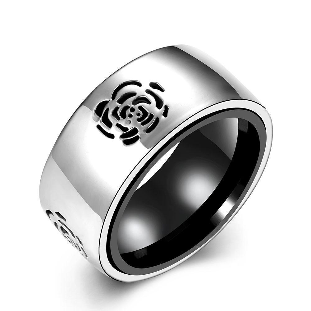 Acier inoxydable deux tons noir IP avec fleur rose coupé en bande de bande US 12-10