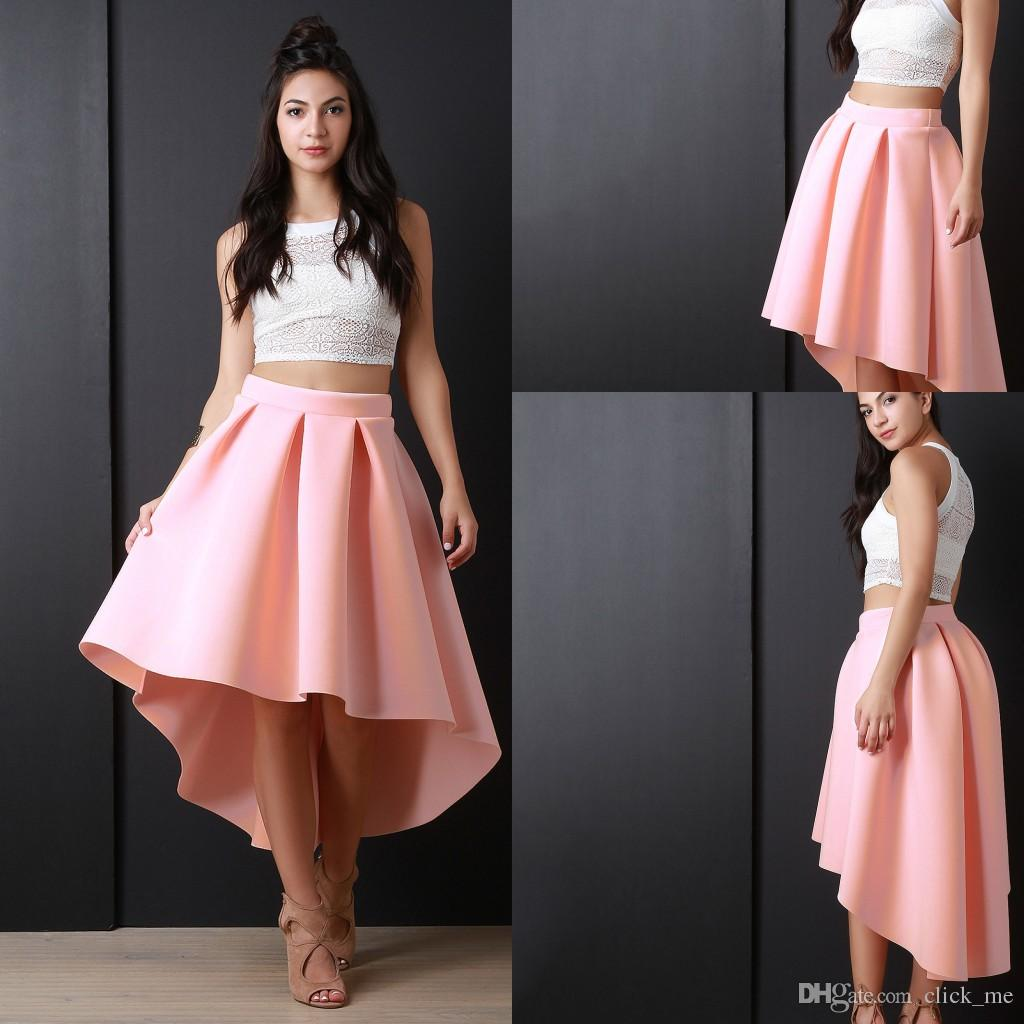 Newest Pink High Low Women Skirs For Teens Satin Pleats A Line Prom Party Dresses Zipper Back Cheap Girls Pageant Skirts
