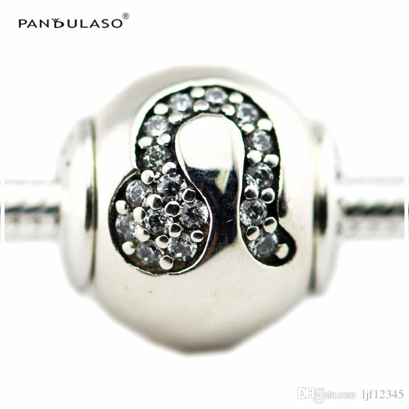LEO with Clear CZ Charm Essence Collection Fits Pandora Bracelets 2.5mm Hole Sterling-Silver-jewelry Beads For Woman Wholesale