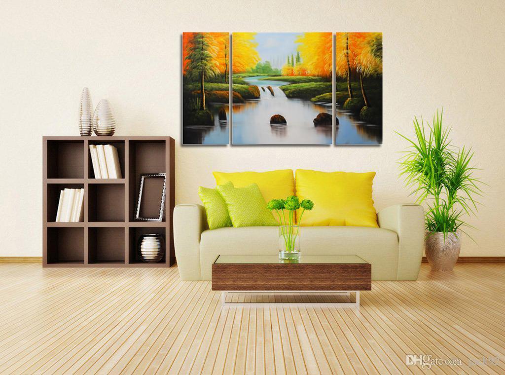 2018 Handmade River Landscape Oil Painting 3 Panel Tree Canvas Art ...