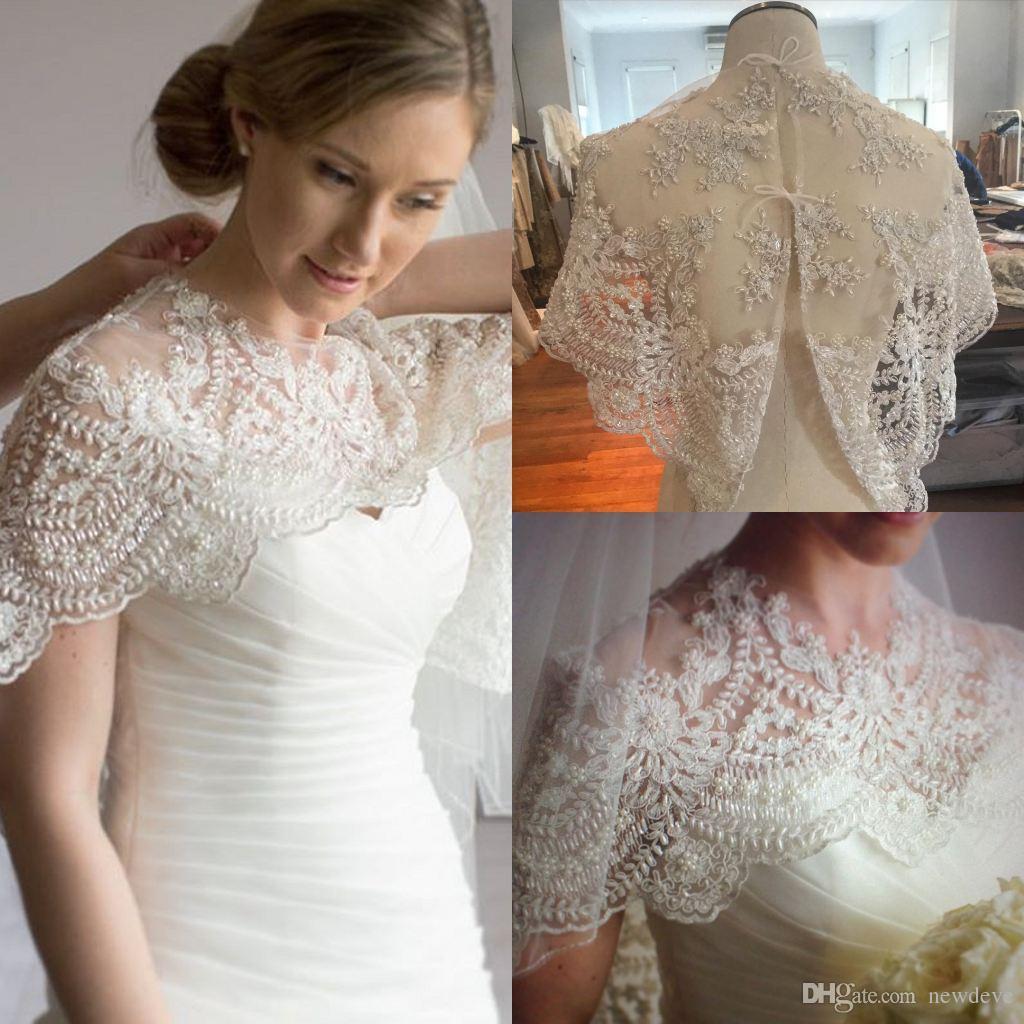 Elegant Fall Bridal Wraps Scoop Sleeveless Wedding Cape Lace Applique Beads Tulle Plus Size Bolero Jackets
