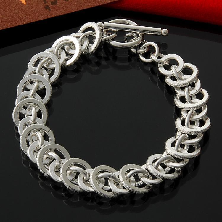 Fábrica de plata al por mayor y al por menor directa 925 a todos los círculo mate manera de la pulsera de plata esterlina pulsera
