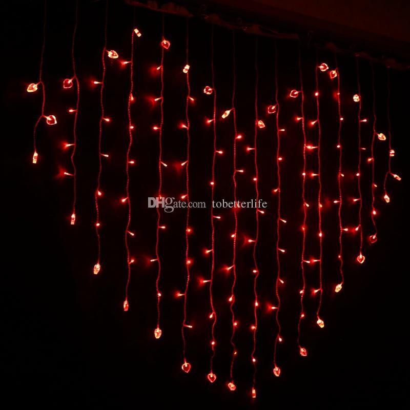 قاد قاد الستار عيد الميلاد ضوء الديكور الزفاف ضوء القلب الألوان الجنية أضواء الستار حزب Xmax ديكور المنزل في الهواء الطلق مصابيح سلاسل
