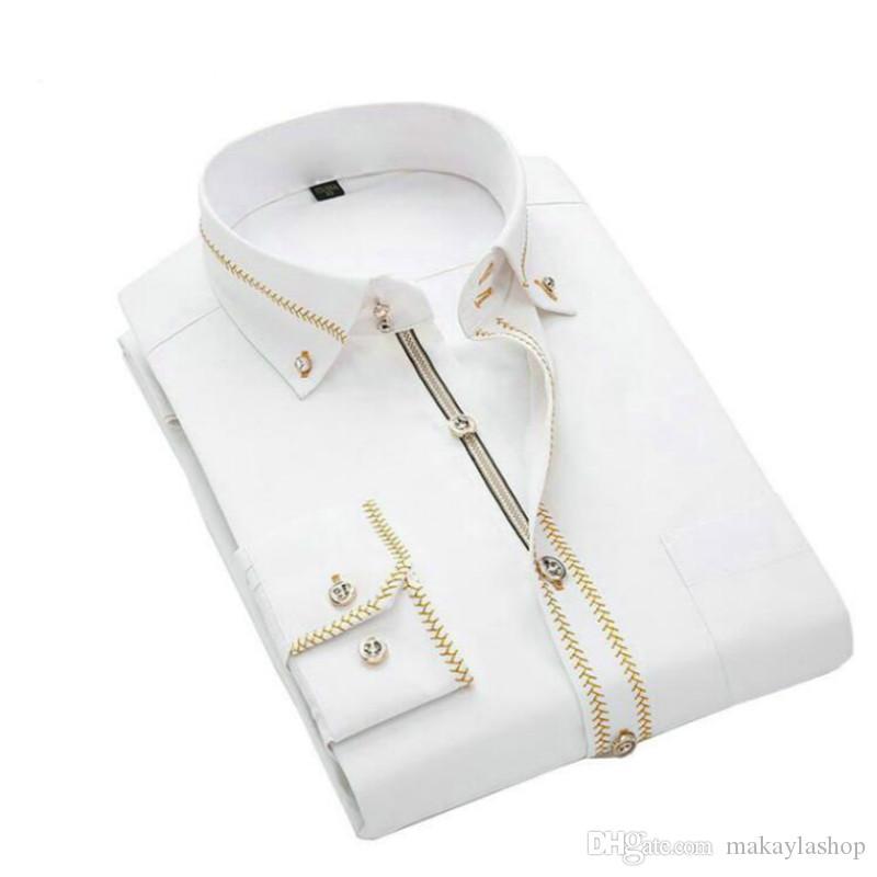 Mens camice a maniche lunghe Slim Fit Mens Dress cotone camice nero bianco da sposa da uomo taglie forti 5XL Chemise Homme