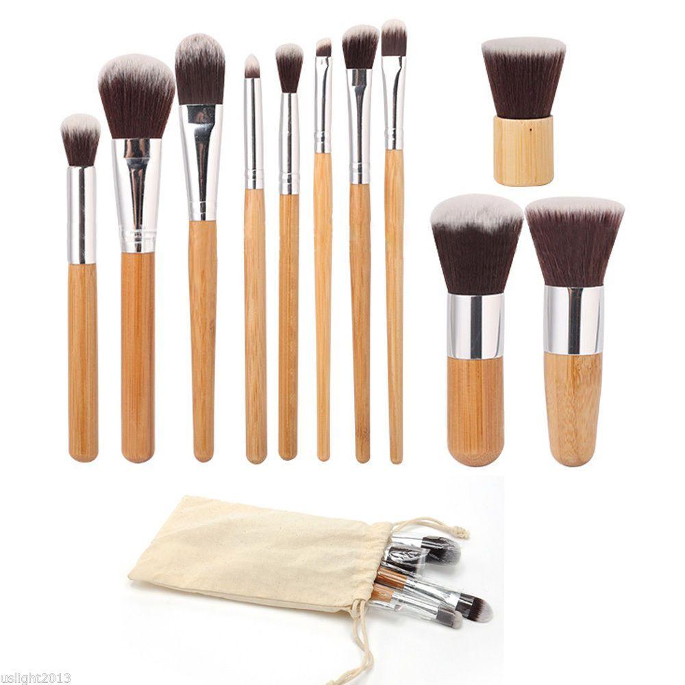 11pcs pinceaux de maquillage Cosmétiques Outils Naturel Bamboo poignée à paupières Maquillage cosmétique Pinceau de pinceau Splaqué Blush Soft Brosses Kit avec sac