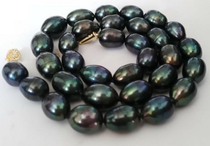 Elegante 12-13mm barocke Tahiti schwarz grün Perlenkette 19 Zoll 14 Karat Gold Verschluss