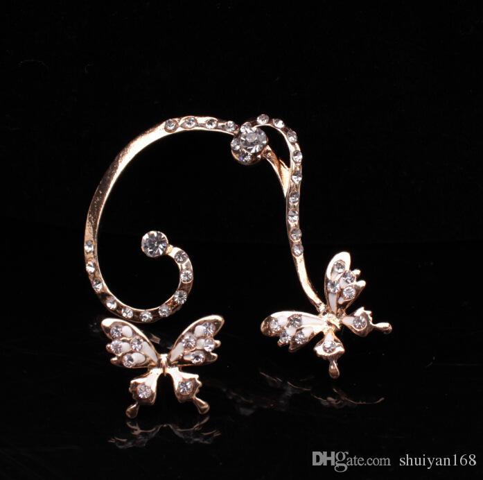 Orecchini a clip con diamanti a forma di farfalla Orecchini con orecchini a punta punk per orecchini a clip in oro e argento