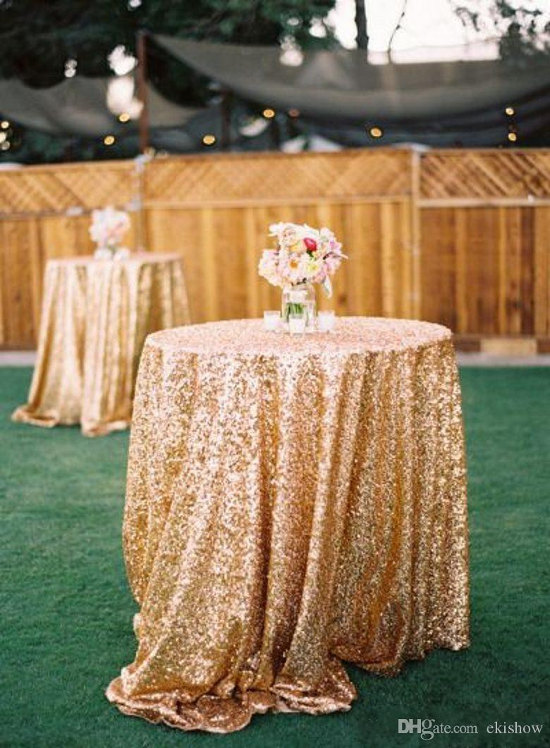 Gold Sequin Round Table Cloth Sparkly Champagne Tablecloth Elegant Wedding Sequin Table Linens 2017 Cheap Diameter 150 cm Table Cloth