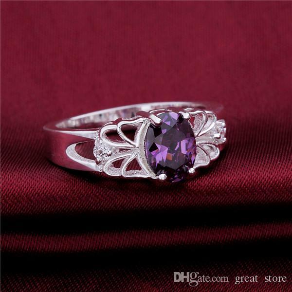 Verkauf 925 Silber Lila GEM Hohl Ring Spitze Freies Schiff GSSR550 Factory Direct Sale Mode Sterling Silber Überzogene Fingerring
