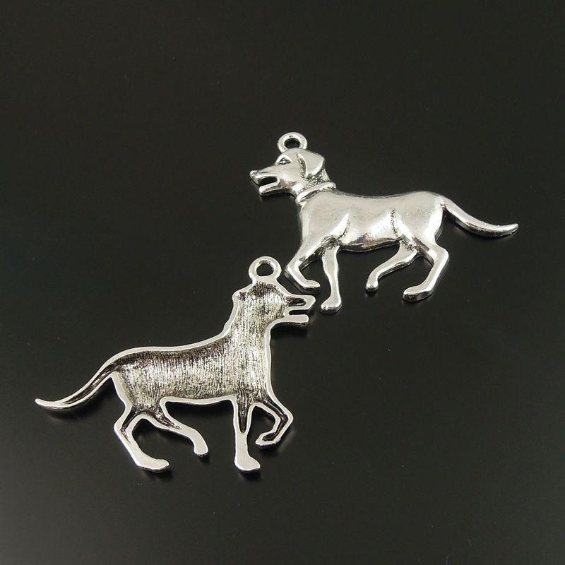 10 pcs Antiqued Silver Tone Dog Liga de Animais Pingente de Charme 52 * 35 * 3mm jóias fazendo