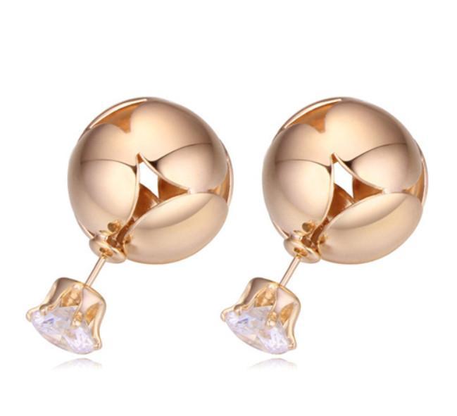 Ohrringe Schmucksachen Frauen Mode Exquisite Qualität Zirkon 18 Karat Gold Überzogene Kugeln Ohrstecker Großhandel Freies Verschiffen TER029