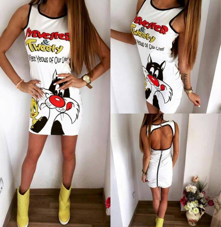 2016 New Fashion Trend Animation Printing Self-cultivation Reveal Back Mini- Dress Adult