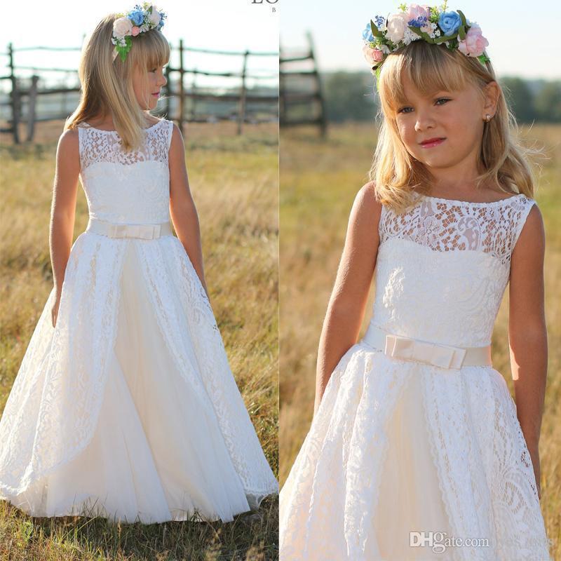 2016 Nuevos vestidos de niñas para las bodas Joya Cuello lleno de encaje Princesa Arco Vestido de cumpleaños Longitud del piso Niños Fiesta Niños Niña Vestidos de bola