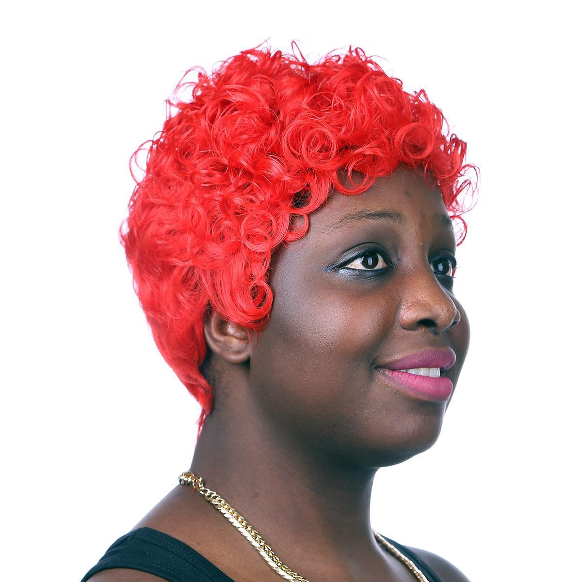 Xiu Zhi Mei 2017 Fashion Red Short Curly Synthetic Hair Wigs Heat Resistant Hair African American Women Full Wigs