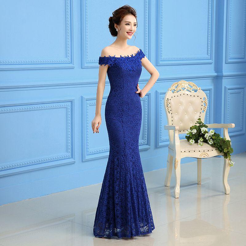 Compre Royal Blue Red Lace Sirena Vestido De Noche Con Cuello Barco Lace Up 2019 Nuevo Vestido Fiesta Elegante A 7262 Del Sarawedding Dhgatecom