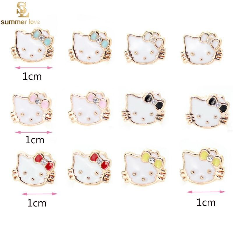 PROMOTION!!!1cm Gold Plated Cute Small Hello kitty Stud Earrings ...