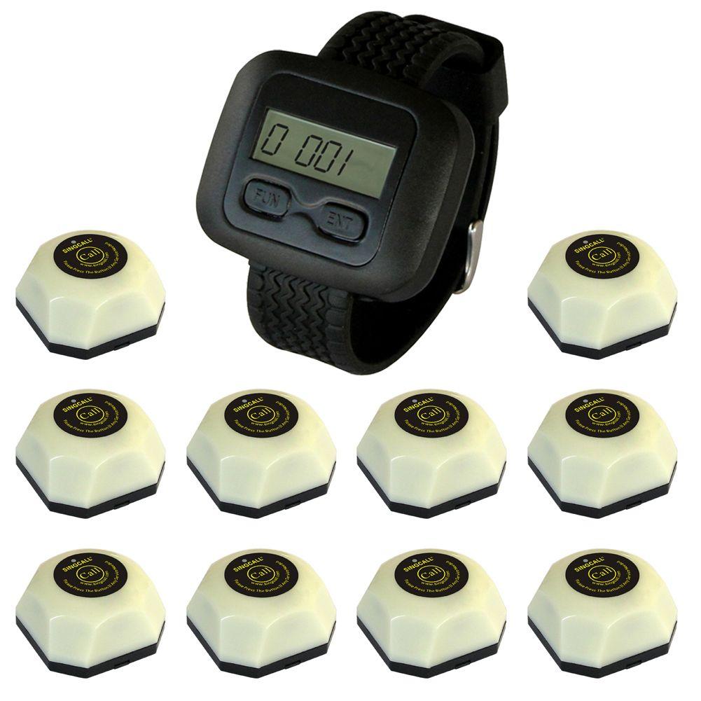 SINGCALL Wireless-Kellner-Service-Paging-System, Kundenbedienung, 10 weiße Tasten und eine Uhr für Kellner