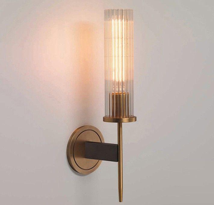 Neue moderne europäische mode schlafzimmer nachttischlampe flur gang balkon glas wandleuchte badezimmerspiegel bronze glas wandleuchte llfa