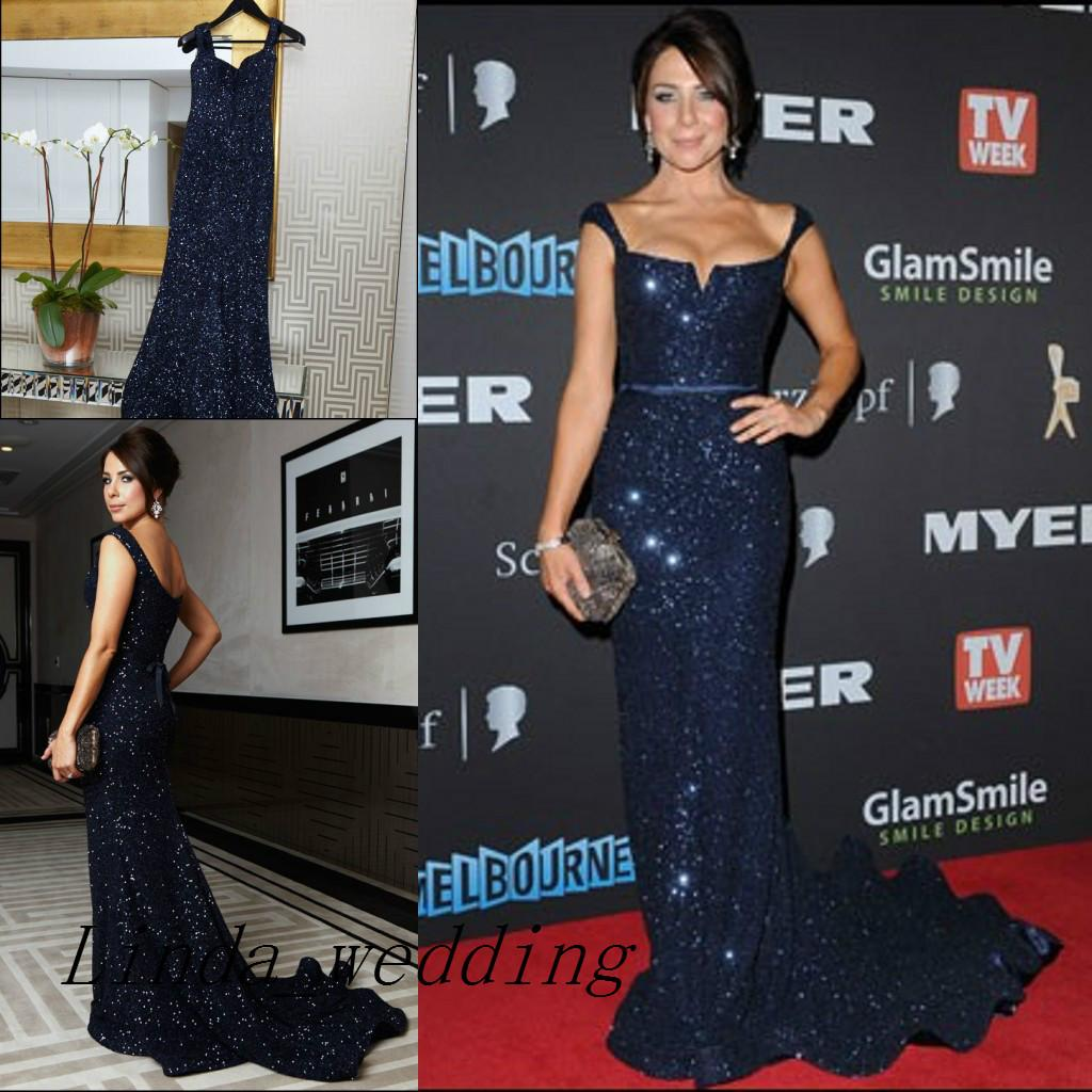 Free Shipping Kate Ritchie Vintage Evening Dresses Navy Blue Sleeveless Sexy Sequin Floor Length Formal Special Long Evening Gowns