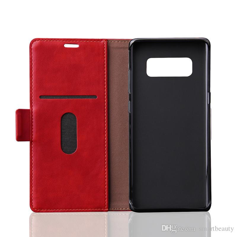 Case for Samsung Note 7 Note 8 S7 Retro PU Leather Case Inside TPU Magnetic Flip case Mobile Phone back cover