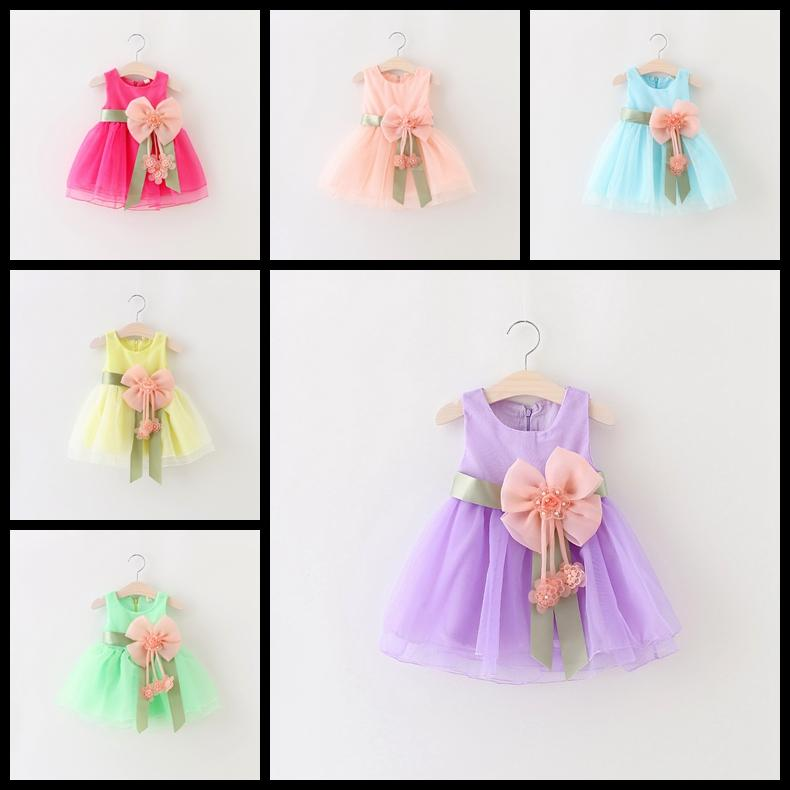 6 Colors Sleeveless newborn baby girl princess dress with big bow flower infant tutu skirts toddler sundress kids lace boutiques