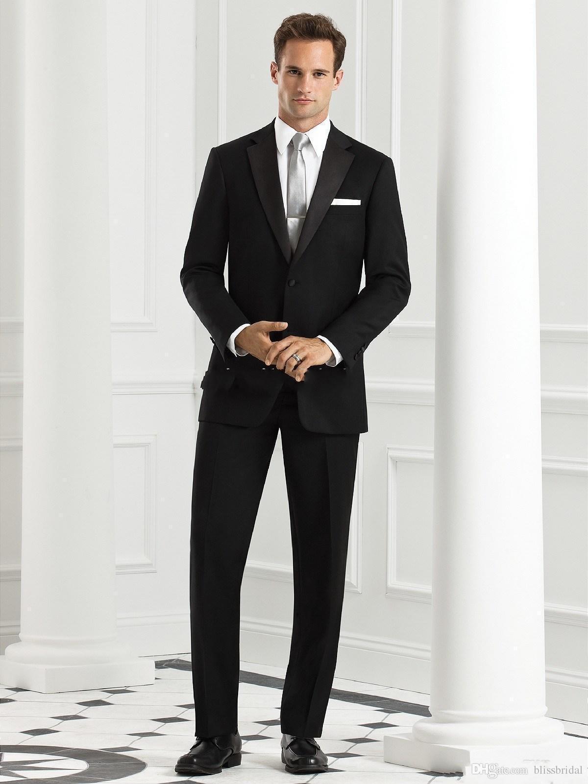 Por encargo Novios de Esmoquin Dos Botones Negro Muesca Solapa de Satén Mejor hombre Groomsman Hombres Trajes de Boda Novio (Chaqueta + Pantalones + Corbata)