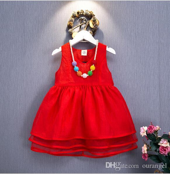 2016 sommer Neue Baby Mädchen Spitze Tutu Kleider Kinder Sleeveless Weste Rock Prinzessin Kleid für Kinder Kleidung Party Kleid