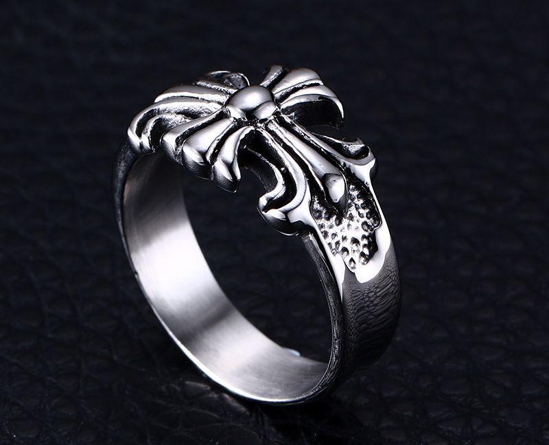Cool cross flower ring Punk Stainless Steel Mens Boys Ring New ...