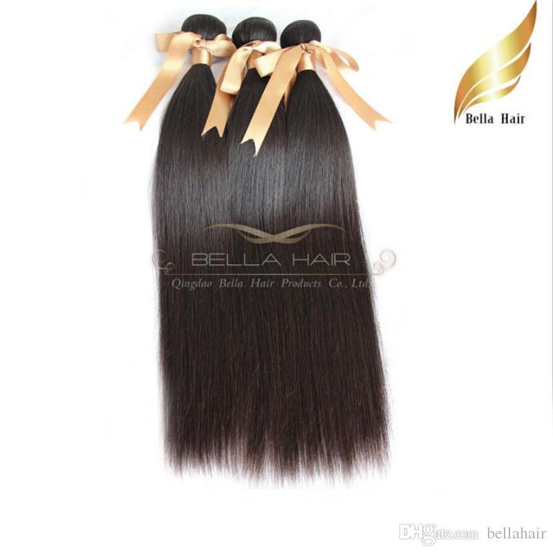 """8A 10 """"-34"""" mongolisches Haar 100% spinnt gerades Menschenhaarverlängerungen des Menschenhaars 3pcs / lot DHL geben Verschiffen Bellahair natürliche Farbe frei"""