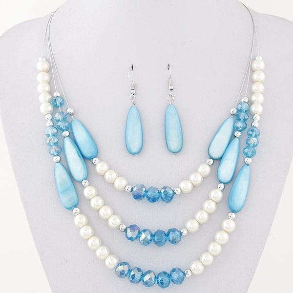 Moda bohemia africana Beads joyería conjunto joyería de la vendimia establece para las mujeres de múltiples capas de cristal collar llamativo pendientes conjunto