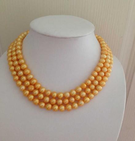 Commercio all'ingrosso 8-9mm south sea naturale collana di perle in oro 48inch 14 k fermaglio in oro