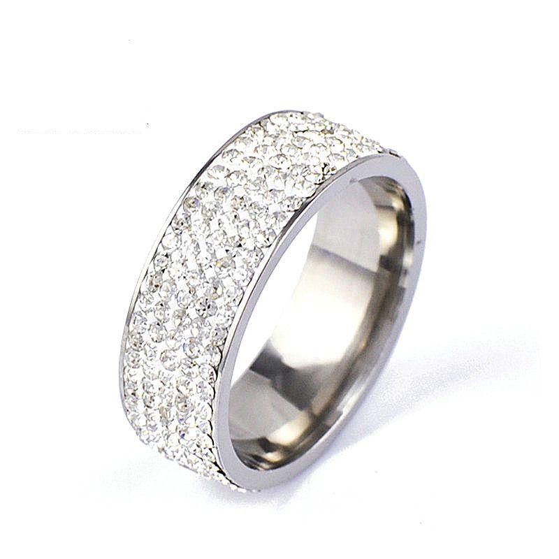 Venda quente atacado 50 pcs mix 8mm círculo completo de cinco linhas de strass de aço inoxidável aliança de casamento Anéis de Jóias Nova marca