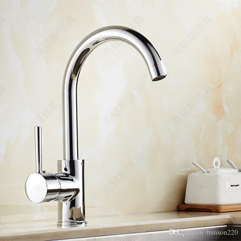 Free shipping 360 rotation kitchen sink faucet with single handle ktichen mixer tap and high quality brass kitchen water faucet