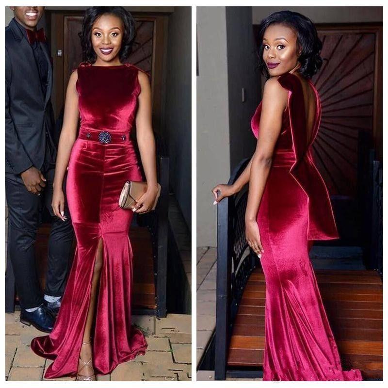 Robes de soirée sirène africaine en velours rouge foncé devant Split robe de bal dos nu perles de ceinture Aso Ebi filles noires robes de soirée cocktail