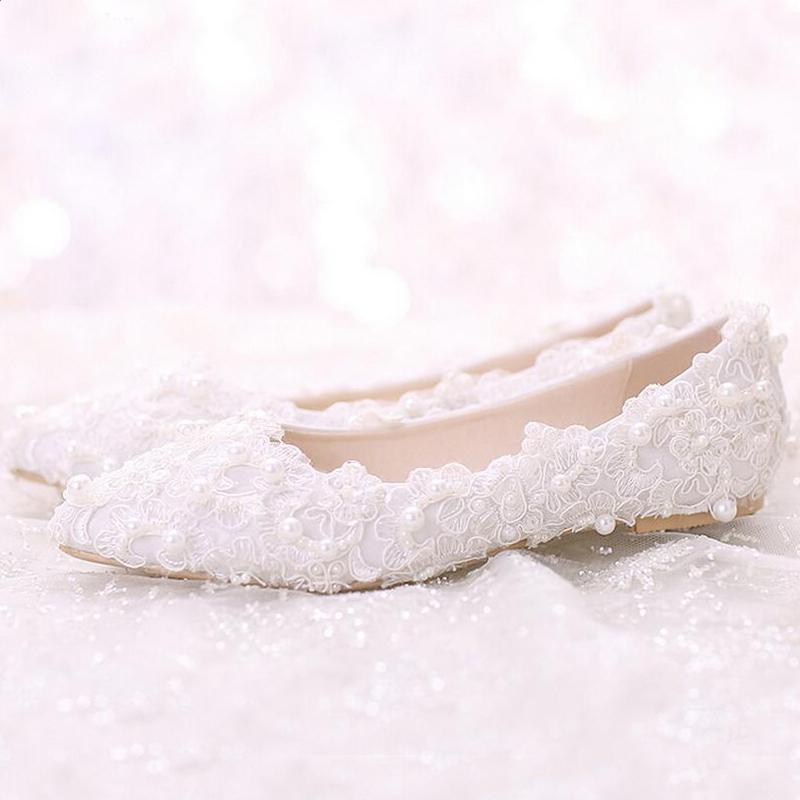 Confortável Sapato De Salto Plano Branco Pérola Doce Rendas Sapatos De Noiva Bouquet Wedding Party Dress Shoes 2019 Últimas Mulheres Bonitas Sapatos