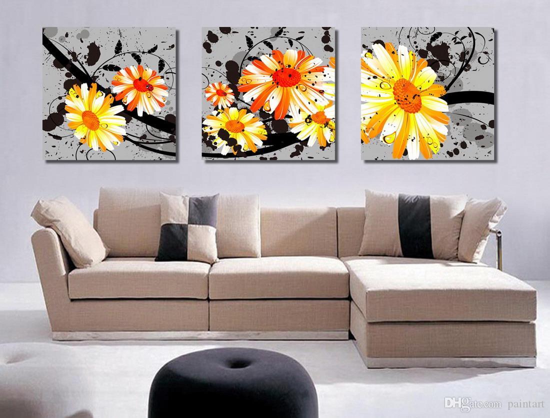 Morden Krizantem Çiçekler Soyut Çiçek Boyama Baskı Tuval Ev Duvar Dekor Set30024
