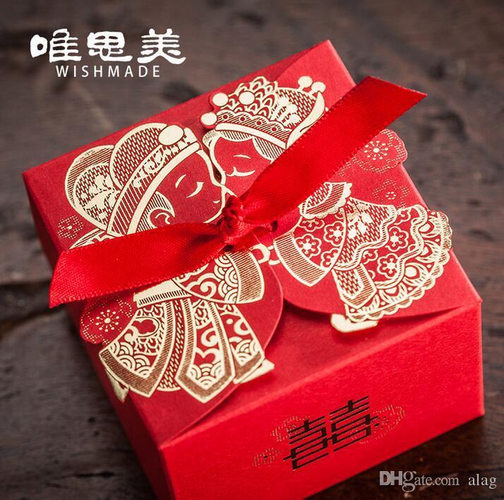 50 pcs Chinês caixa de Doces Da Caixa Do Casamento vermelho fita Hot stamping Cortar A Laser de Doces Caixas de Presente de Casamento Caixas de Favor de Partido TH208