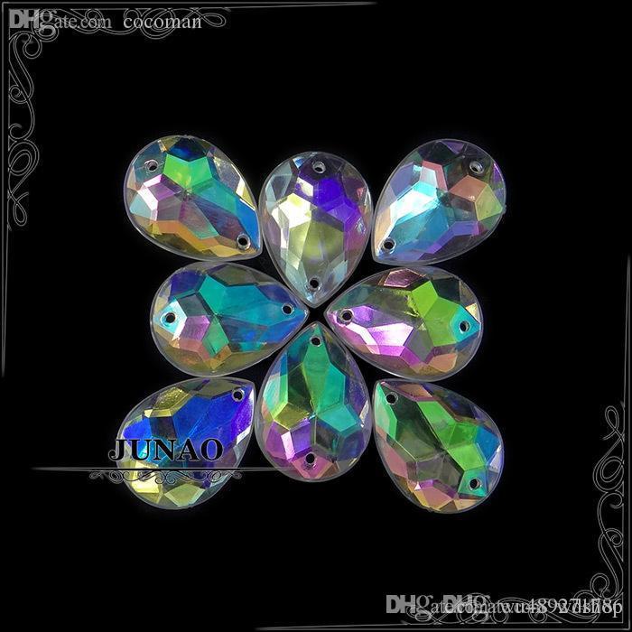 Оптовая продажа-13*18 мм Кристалл AB падение горный хрусталь кнопки шить на акриловые Flatback драгоценные камни Кристалл камни аппликация для ремесел украшения 500шт