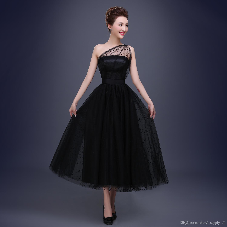 2017 Vintage Black Bridal Evening Dresses A Line One Shoulder ...