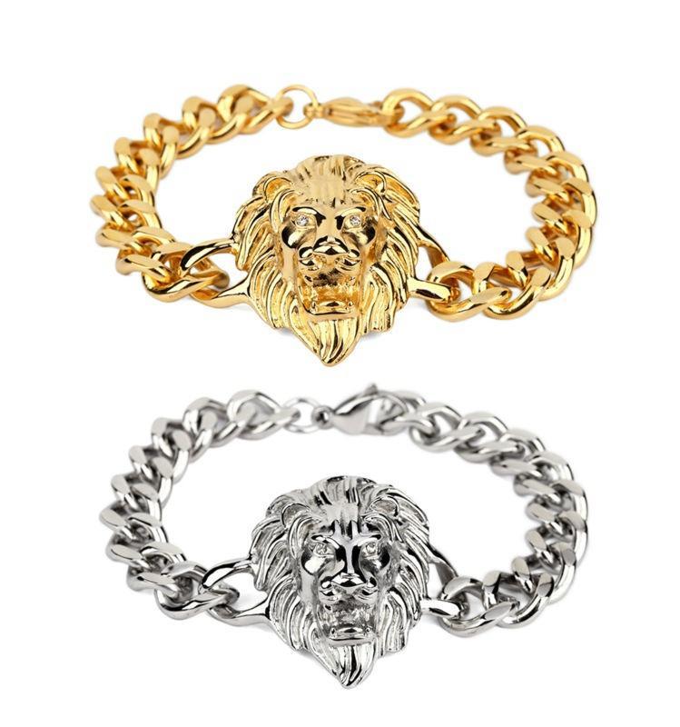 Nuevos hombres Cool Rock Lion Head Bracelet Cool Fashion Hip Hop Silver Color oro High Grade Mens Jewelry para regalos de Navidad